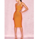 2018 New Fashion Sexy Transparent Backless Party Dress Women Gold Bandage Dress Fabric Prom Dress