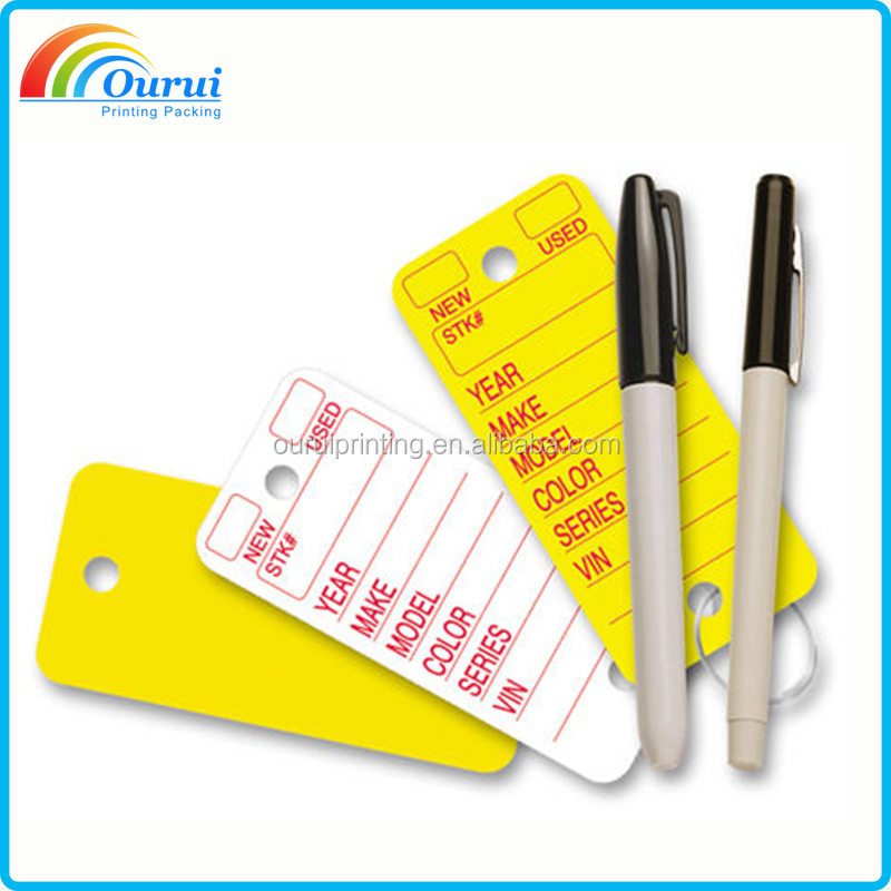 custom logo color poly rigid key tags for car