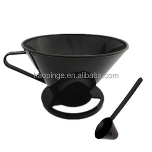 coffee paper filter, black Plastic Coffee Filter with spoon