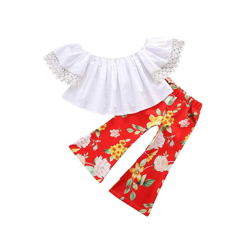 HBER 1-6T Toddler Baby Little Girls Outfits Sets Lace Short Sleeve Off Shoulder Tube Tops + Floral Bell-Bottom Pants Set