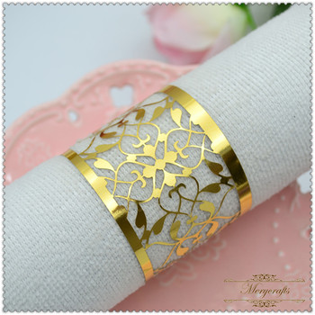 Laser Cut Thank You Gift Gold 2017 India Napkin Rings For Wedding Table Decorations