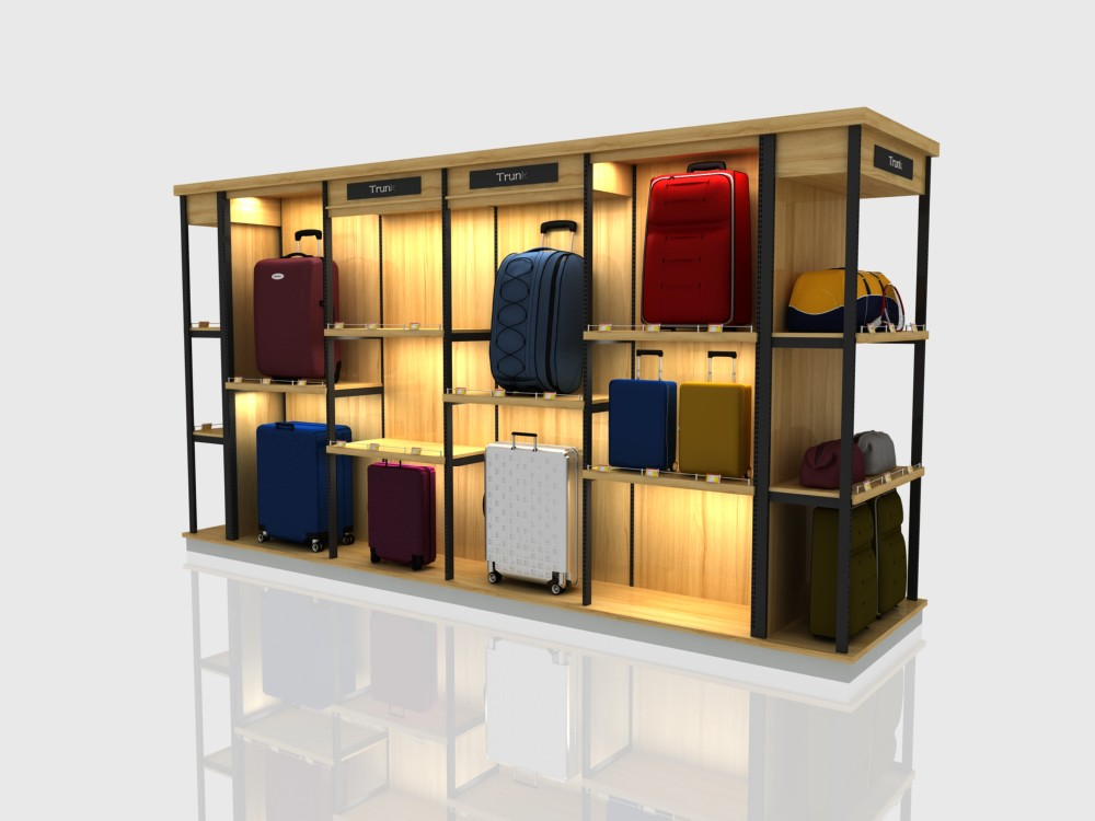 wood and steel combined supermarket display shelf/ luggage and suitcase display shelf