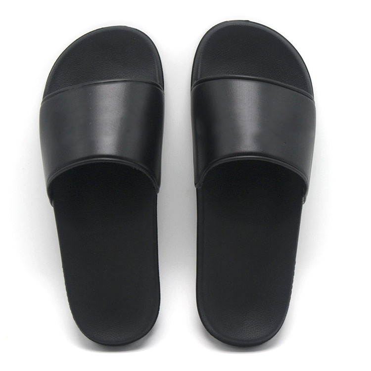 wholesale blank sublimation eva unisex beach Plain rubber slide sandal, pu black slide slippers custom your logo