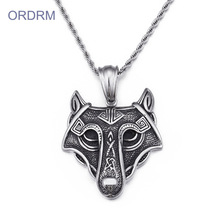 도매 Custom Stainless Steel 빈티지 Wolf Head <span class=keywords><strong>바이킹</strong></span> Necklace 대 한 Men