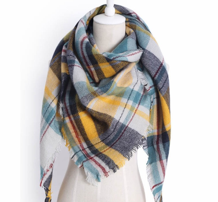Women Fashion Autumn Plaid Cashmere Classic British Lattice Triangle Scarf