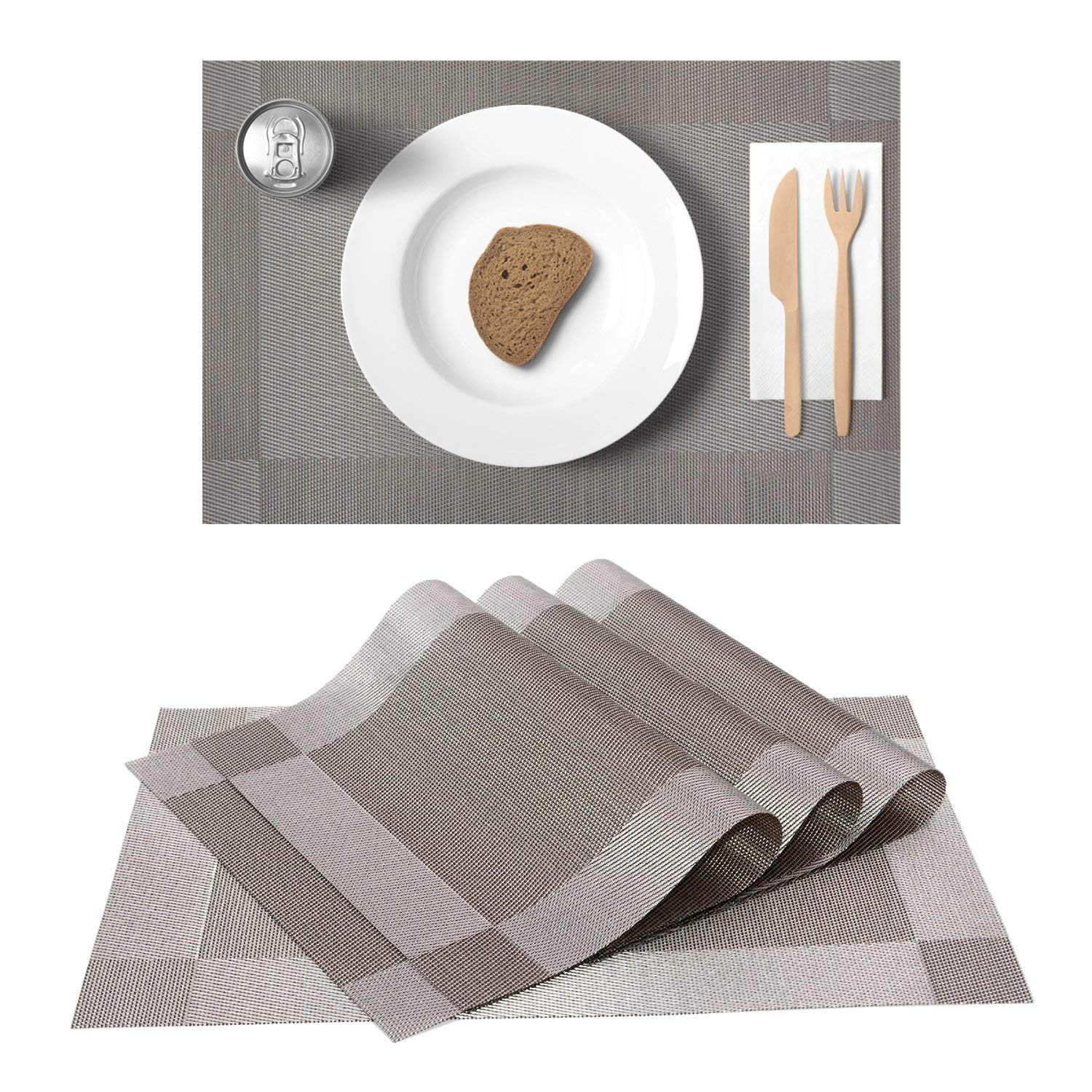 """Easy-Tang Table Mats Set of 4,Eco-friendly Rectangle PVC Tablemats, Washable Heat-resistant Placemats Stain Resistant Anti-slip 12"""" x18""""(Silver Gray)"""