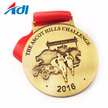 Metal craft custom zinc alloy stamping metal sport award medal with ribbon