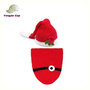 7f5aef9dacd Newborn Baby Girl Boy Christmas Crochet Santa Claus Beanie Hat and Cocoon  Set Costume Photo Props