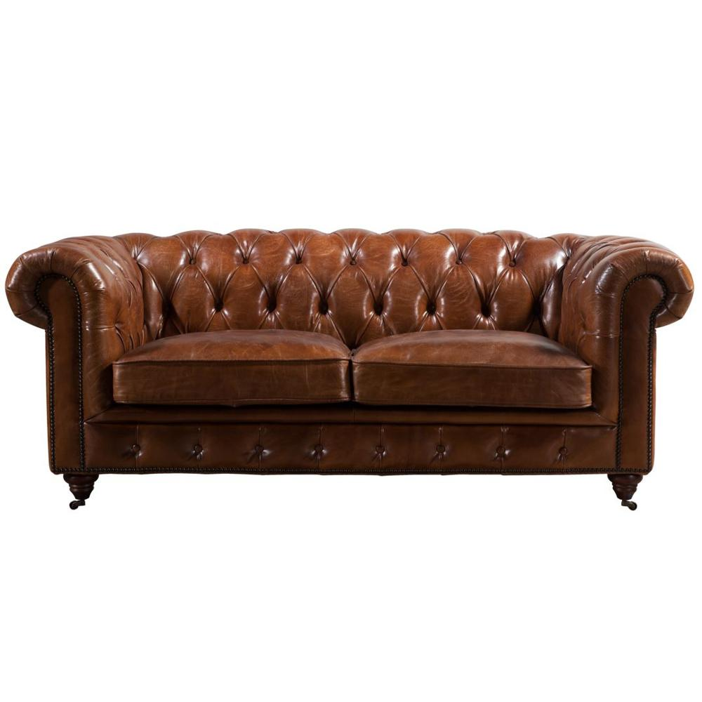- Hand Finished Vintage Tan Leather Chesterfield Sofa Furniture
