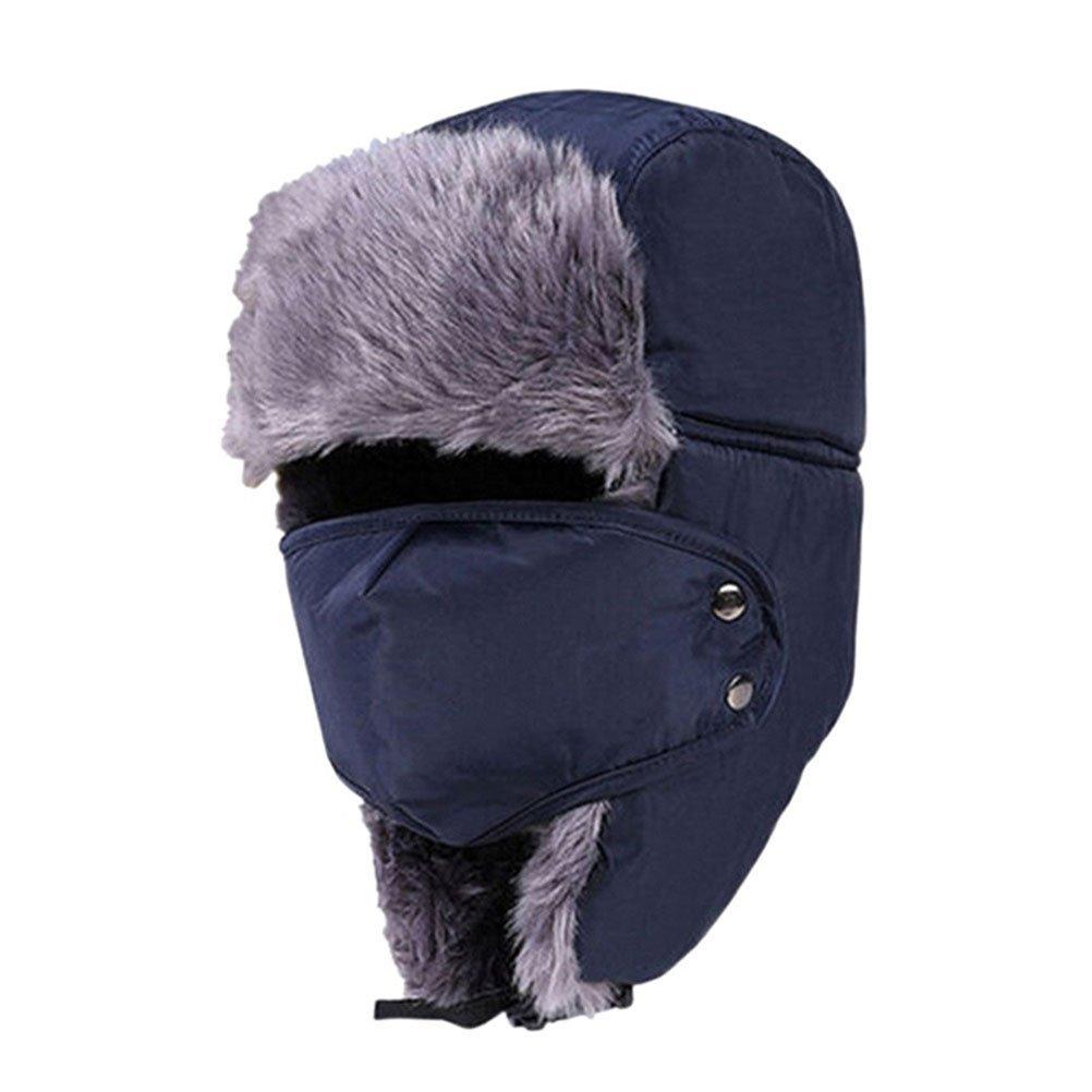09b0b23a78802 Get Quotations · ROSENICE Ushanka Hat Ushanka Trapper Aviator Earflap Ski  Hats With Mask Cap Hood(Blue)