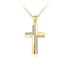 PZA2-236C Solid Silver Gold Plated Cross Pendants Christian Jewelry Wholesale