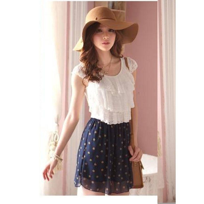b0a32efcfa3 Get Quotations · 2015 Women s Fashion Trendy Korean Lace Chiffon Mini Dress  Outfit without blet 2 colors maxi vestido