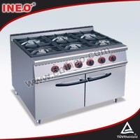 Stainless Steel commercial 6 burner gas range/industrial gas burner prices