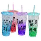450ml Reusable double plastic straw color changing coffee cup