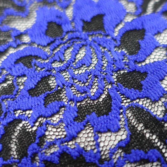 Elegant and sexy Sapphire blue Party dress hollow dirndl lace fabric for summer dresses