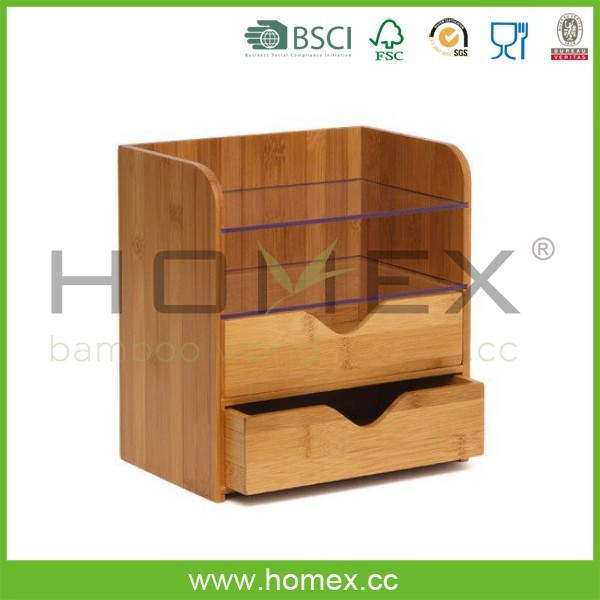 Luxurious bambu 4 tier desk organizer with acrylic shelves- HOMEX - FSC / BSCI