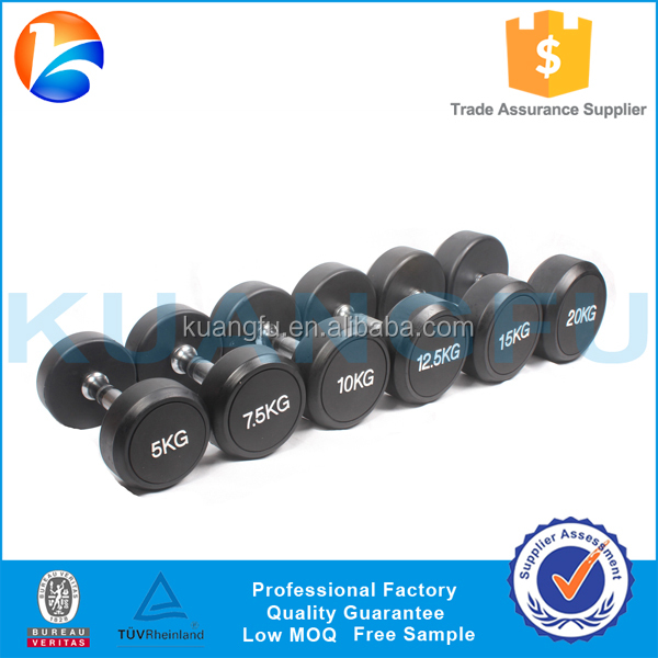Factory Wholesale Hot Sale High Quality Round Head Rubber, PU Coated Dumbbell