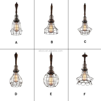 Decorative Pendant Lighting Vintage Industrial Style Lights Edison Bulb  With Wooden Wire Cage Pendant Light