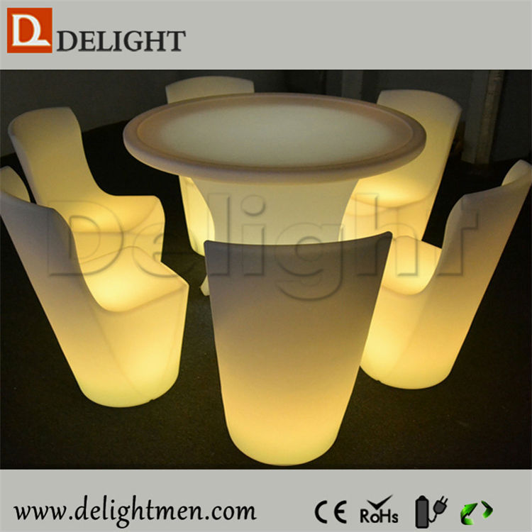 Outdoor furniture hot sale color changing illuminated remote control led glowing dinner tables