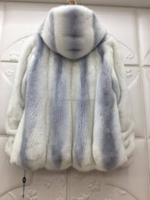 Imported real mink fur coat with hood for women, white with light blue color