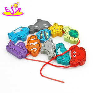 New hottest children educational brain game wooden lacing toys with multi fish shape W11E072