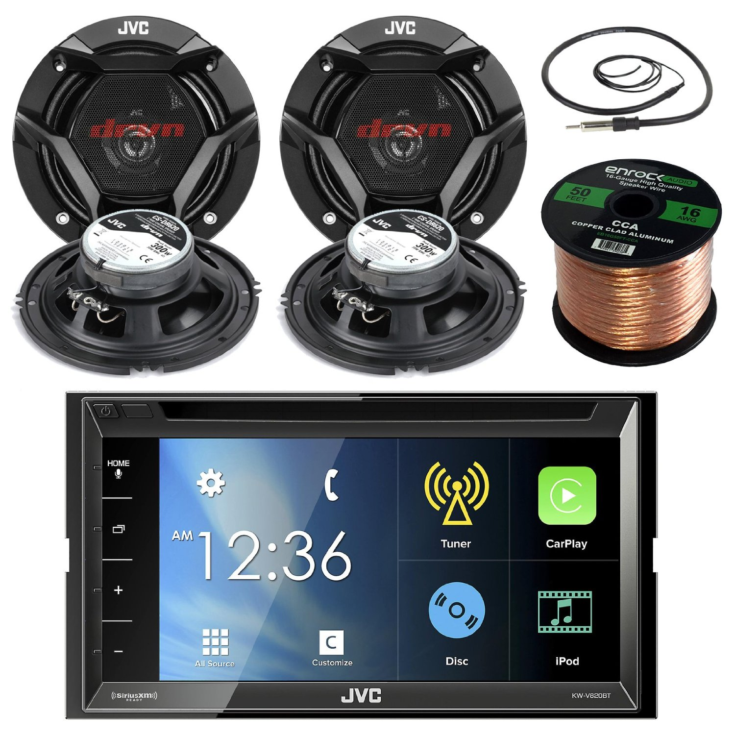 """JVC KWV820BT 6.8"""" Touch Screen Car CD/DVD Bluetooth Receiver Bundle Combo With 4x CS-DR620 6.5"""" Inch 300 Watt 2-Way Audio Coaxial Speakers + Enrock 22"""" AM/FM Antenna + 50 Foot 16 Guage Speaker Wire"""