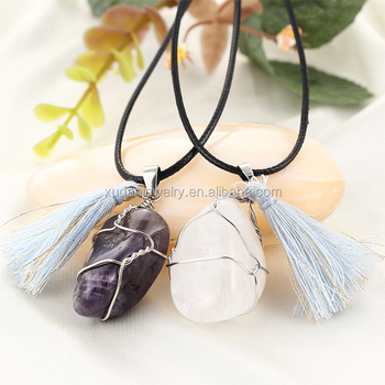 Wholesale tassels binding big stone pendant summer necklace jewelry wholesale tassels binding big stone pendant summer necklace jewelry binding wire leather necklace aloadofball Image collections