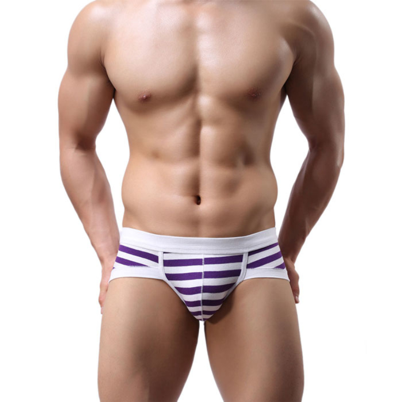 excellent quality 2015 Hot Men's Sexy Stripe Cotton Underwear shorts men underpants Soft Briefs