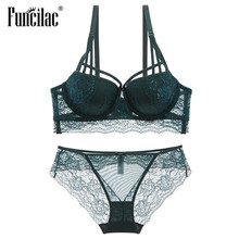 FUNCILAC Women Sexy Bra Set Transparent Lace Ladies Underwear Push Up Bra    Brief Sets Black. 4 Colors Available 37d98b1d9