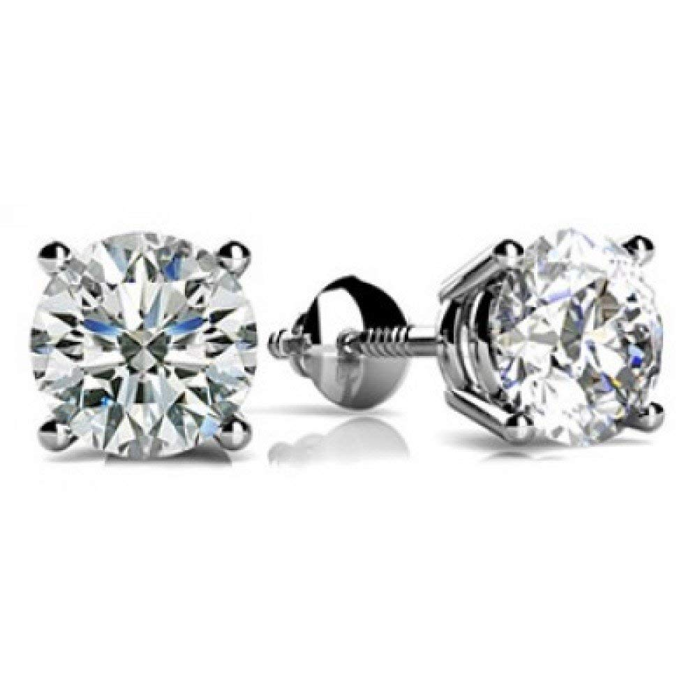 1/4-2 Carat GIA Certified Round Diamond Stud Earrings 4 Prong Screw Back (D-E Color VS1-VS2 Clarity)