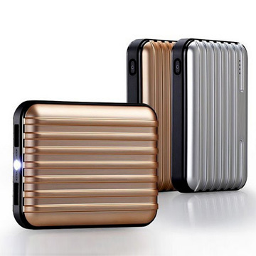 11200mAh large capacity suitcase style external battery charger with LED torch and flashlight