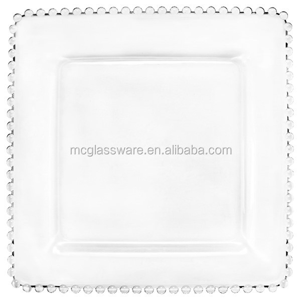 Gold beads square glass charger plates wholesale for wedding and events  sc 1 st  Alibaba & Gold Beads Square Glass Charger Plates Wholesale For Wedding And ...
