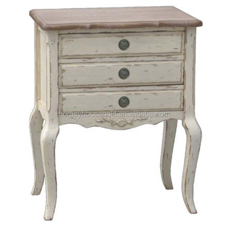 French Style White Painting 3 Drawer Chest Cabinet Antique Furniture