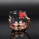 Hot selling enamel alloy household crystal glass flower tea cup with handle