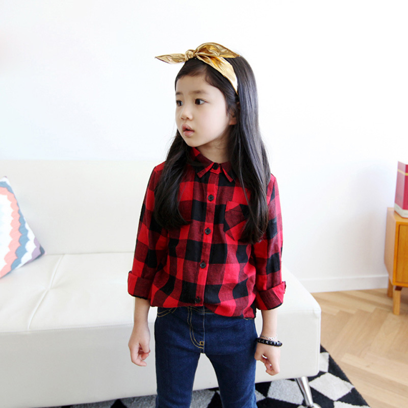 New styles 2015 autumn boys and girls' shirts children's shirts cotton children blouses black and red plaid shirts for boy girls