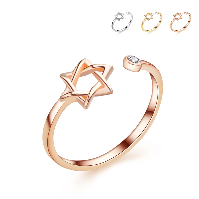Simple Plain Jewelry Rose Gold Plated Adjustable S925 Goldern Star ...