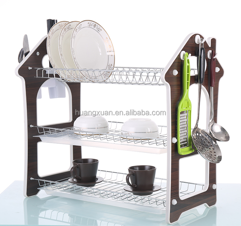 Chrome Kitchen Dish Cup Drying Rack Drainer Dryer Tray Cutlery Holder Organizer