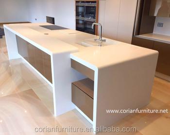Solid Surface White Corian Kitchen Island