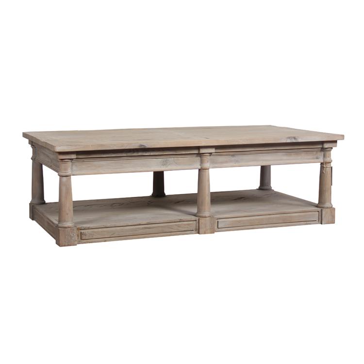 Metal Base Solid Elm Wood Rectangle Good Quality