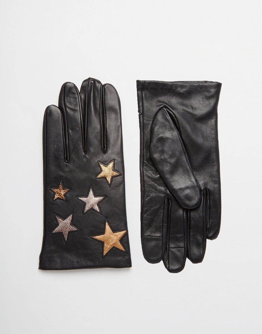 Leather gloves with star design and smartphone leather gloves