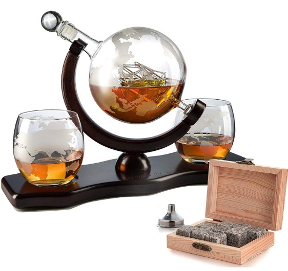 Wereld Decanter Met 2 Globe Bril Perfect Gift omvat Whiskey Stones Voor Whiskey Glas Globe Decanter Set