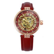 Женские часы с кожаным ремешком FORSINING, красные, механические, с циферблатом и кристаллом, 2019(Китай)