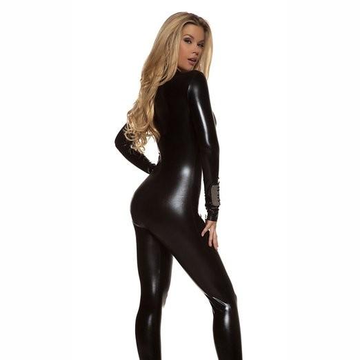 6ccadf8da1330 Adult Spandex Sexy Wet Look Womens Turtleneck Metallic Black Zentai Catsuit  Zip Front Unitards Clubwear Stripper Costume XXXL