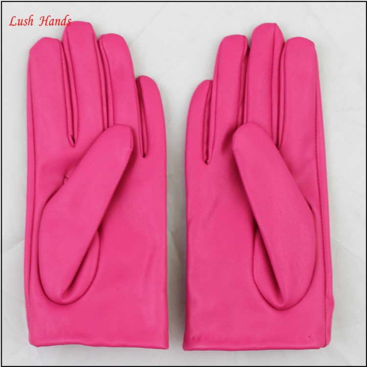 ladies cheap PU leather hand gloves rose with roses