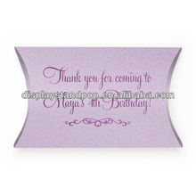 Fashionable Customized China Made Cheap Paper Thank You Favors Pillow Boxes for Birthday Party