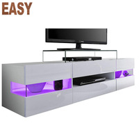 Modern cheap White high gloss TV stand with LED light for living room furniture