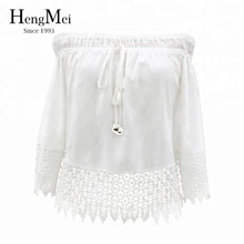 Ladies sexy long sleeve white ruffled see through blouse crochet lace crop top