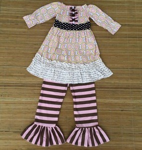 2015 Wholesale girls fancy clothes little girls boutique remake clothing sets New Kids Maxi Dress 100%Knit