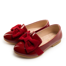 Hot sale Korean children girls leather dress shoes with large bow