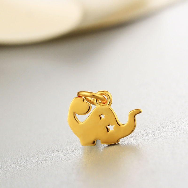 Gold plated jewelry wholesale silver 925 hollow thailand Elephant charm